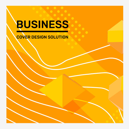 Vector creative bright yellow color business abstract illustration. Abstraction background in frame with shape, 3d element, header. Template composition design for web, site, banner, print, poster, presentation