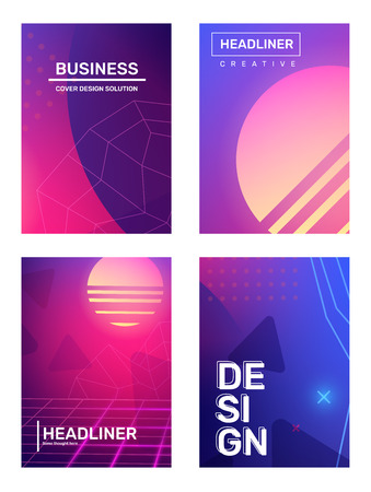 Business gradient retro futurism abstraction, background with space planet, star. Vector set of creative pink and blue abstract illustration with header. Template composition design for web, site, banner, poster, presentation