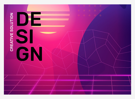 Vector creative bright pink and purple retro illustration with neon grid, shape, fog. Business abstract gradient background. Abstraction in frame with header. Template composition design for web, site, banner, poster, presentation Ilustração