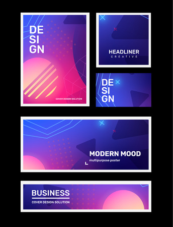 Vector set of creative pink and blue abstract different retro illustration in frame with neon, planet, star. Business gradient abstraction background with header. Template composition design for web, site, banner, poster, presentation