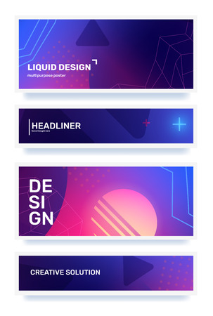 Vector set of creative color abstract horizontal retro illustration in frame with shape, neon, star, grid. Business gradient abstraction background with header. Template composition design for web, site, banner, poster, presentation