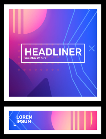 Vector set of creative pink and blue abstract retro futuristic illustration in frame with neon, fog, shape. Business gradient template composition with header. Abstraction background design for web, site, banner, poster, presentation Ilustração