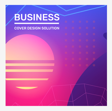 Vector creative pink and blue illustration with frame, neon line, shape, dot grid. Abstraction template composition design with header. Business abstract gradient background for web, site, banner, poster, presentation Ilustração