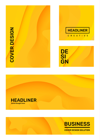 Vector set of creative yellow abstract paper cut style illustration with header. Business abstraction background. Template composition design for web, site, banner, print, poster, presentation