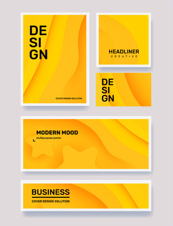 Vector set of creative yellow abstract different paper cut style illustration in frame. Business abstraction background with header. Template composition design for web, site, banner, print, poster, presentation Ilustração