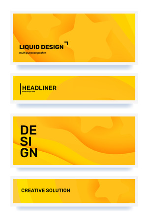 Vector set of creative yellow abstract horizontal paper cut style illustration with header in frame. Template composition design for web, site, banner, print, poster, presentation. Business abstraction background
