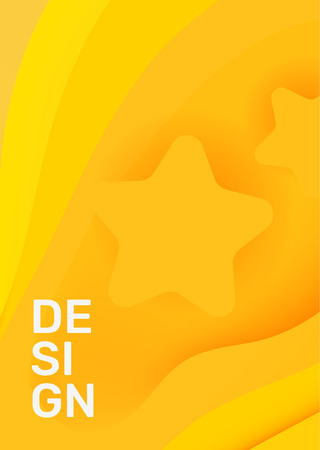 Vector creative bright yellow color vertical paper cut style illustration. Business abstract background with star, header. Template composition, abstraction design for web, site, banner, print, poster, presentation Ilustração