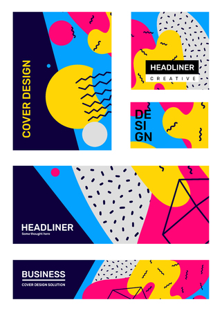 Vector set of creative bright retro abstract illustration with shape. Business abstraction, background with header. Template composition flat style design for web, site, banner, poster, presentation