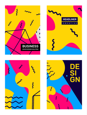 Business retro abstraction, background with text header. Vector set of creative bright abstract illustration with shape. Template composition flat style design for web, site, poster, presentation Banco de Imagens - 124640350