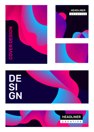 Vector set of creative bright abstract illustration with header. Business abstraction, geometric gradient background with dynamic shape. Template composition design for web, site, banner, poster, presentation