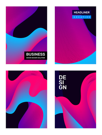 Vector set of creative pink and blue abstract template composition with dynamic shape. Business illustration abstraction, geometric gradient background with header. Design for web, site, poster, presentation Banco de Imagens - 124424518