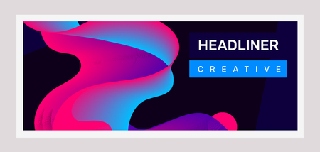 Vector creative horizontal illustration of pink and blue business abstraction on black background. Abstract geometric gradient template composition. Design with shape and header for web, site, banner, poster, presentation