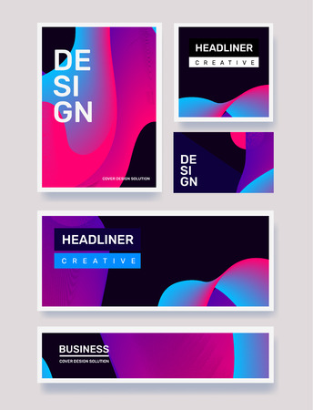 Vector business set of creative blue and pink abstract illustration on black background. Geometric gradient abstraction. Template composition design with dynamic shape, header for web, site, banner, poster, presentation 矢量图像