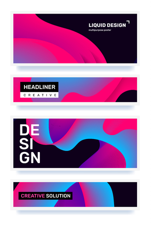 Vector business set of creative horizontal bright abstraction on black background. Abstract geometric gradient illustration. Template composition design with dynamic shape, text for web, site, banner, poster, presentation