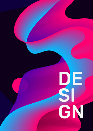 Vector creative illustration of business abstract geometric template. Abstraction gradient composition on black background. Design with shape, text for web, site, banner, poster, presentation Banco de Imagens - 124424524