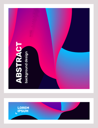 Vector business set of creative blue and pink abstraction on black background. Abstract geometric gradient template composition. Illustration design with dynamic shape, text for web, site, banner, poster, presentation Ilustração