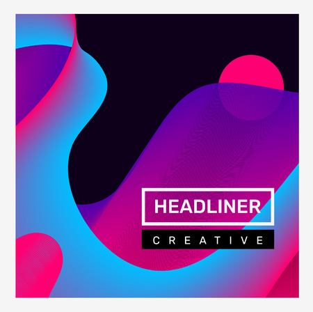 Vector creative bright illustration of business abstract gradient composition on black background. Abstraction geometric with dynamic shape, header. Template design for web, site, banner, poster, presentation Banco de Imagens - 124424526