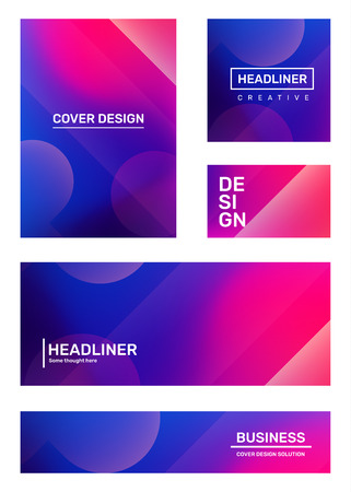 Vector set of creative pink and purple abstract illustration with bokeh. Business gradient abstraction, background with header. Template composition design for web, site, banner, poster, presentation