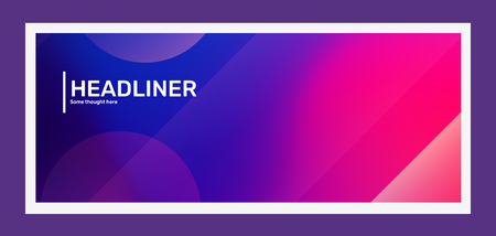Vector creative bright pink and purple horizontal illustration with bokeh. Business abstract gradient background. Template composition design for web, site, banner, presentation. Abstraction in frame with header