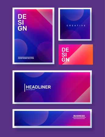 Vector set of creative pink and purple abstract different illustration in frame with bokeh. Template composition design for web, site, banner, poster, presentation. Business gradient abstraction background with header