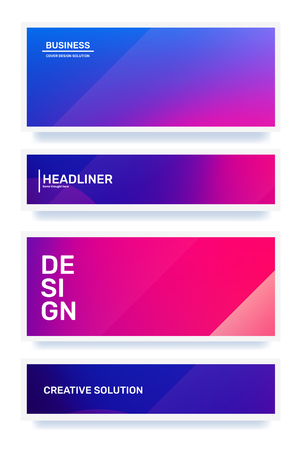 Vector set of creative pink and purple abstract horizontal illustration in frame. Business gradient abstraction background with header. Template composition design for web, site, banner, poster, presentation Ilustração