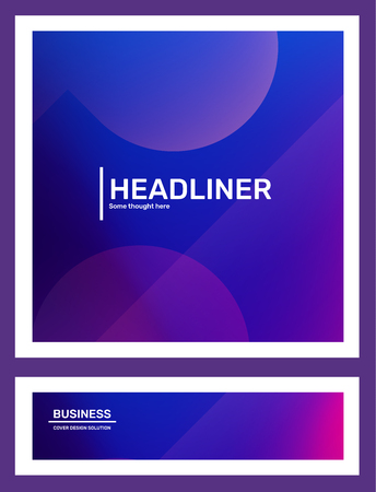 Vector set of creative purple abstract horizontal illustration in frame with bokeh. Business gradient template composition with header. Abstraction background design for web, site, banner, poster, presentation