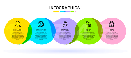 Vektor-Infografik-Vorlage mit angeschlossenem hellem Farbetikett, Optionen und Schritten mit Geschäftssymbolen, Wörtern, Text auf weißem Hintergrund. Line Art Style Design für Web, Site, Banner, Präsentation, Bericht Vektorgrafik
