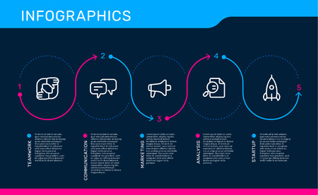Vector infographic template with path with options and steps, business icons, text on black background. Line art style design for web, site, banner, presentation, report