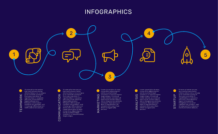 Vector infographic template with curl path with options and steps, business yellow icons, words, text on blue background. Line art style design for web, site, banner, presentation, report Ilustração