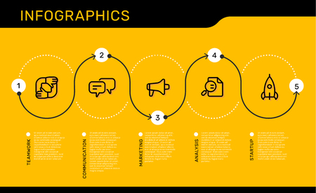 Vector infographic template with number track options and steps with business icons on yellow background with text. Line art style design for web, site, banner, presentation, report