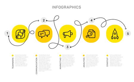 Modello di infografica vettoriale con percorso di arricciatura con opzioni di numero e passaggi, icone cerchio giallo di affari, parole, testo su sfondo bianco. Line art style design per web, sito, banner, presentazione, report