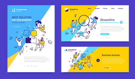 Vector set of template with business illustration with people on color background. Concept of solution, streamline, analysis with text. Line art style design for web page, site, poster, mobile website development