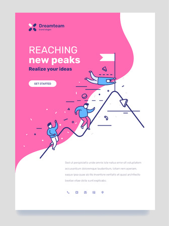 Vector template with illustration of people climbing the mountain with flag on pink background. Business way to success concept with text. Line art style design for web, site, poster, mobile website development
