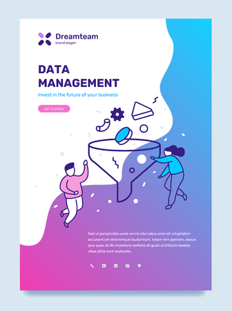 Vector business template with illustration of people with a funnel stream of element. Data management concept with text on color background. Line art style design for web, site, poster, mobile website development
