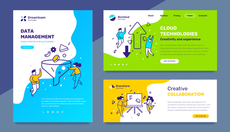 Vector set of template with business illustration with people on color background. Concept of management, cloud technology, collaboration with text. Line art style design for web page, site, poster, mobile website development