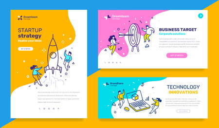 Vector set of template with business illustration with people on color background. Concept of startup strategy, technology, business target with text. Line art style design for web page, site, poster, mobile website development