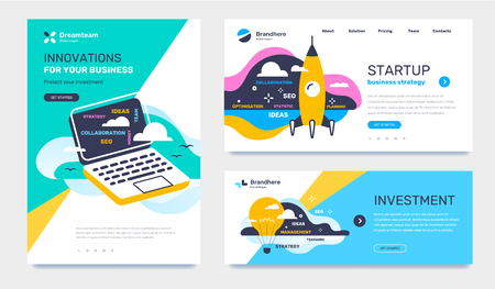 Vector set of template with business illustration on color background. Concept of investment, startup, innovation with text, cloud. Flat style design for web, site, banner, poster Ilustração