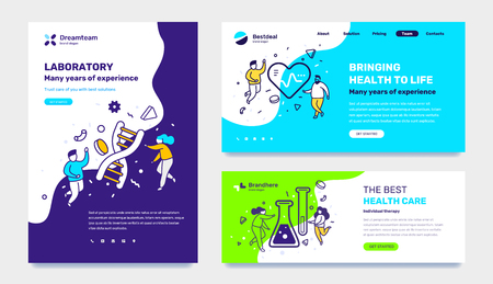 Vector set of template with medicine illustration with people on color background. Concept of laboratory, healthy life, health care with text. Line art style design for web page, site, poster, mobile website development 向量圖像