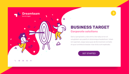 Vector business template with illustration of people with big target with arrow in the center. Startup research concept with text on blue background. Line art style design for web, site, banner, mobil  イラスト・ベクター素材