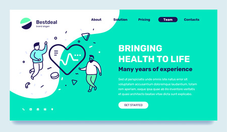 Vector medicine template with illustration of people with big heart with pulse. Health life concept with text on green background. Line art style design for web, site, banner, mobile website development