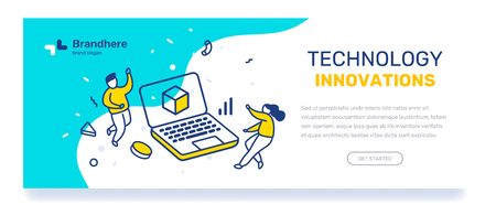 Vector business template with illustration of people with big laptop. Technology innovation concept with text on blue background. Line art style design for web, site, banner, mobile website development