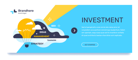 Vector business template with illustration on blue background. Investment concept with text, flying air balloon in the form of light bulb with cloud, tag word. Flat style design for web, site, banner, mobile website development