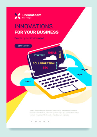 Vector business template with illustration on color background. Innovation concept with text, open laptop with cloud, text. Flat style design for web, site, banner, poster Ilustração