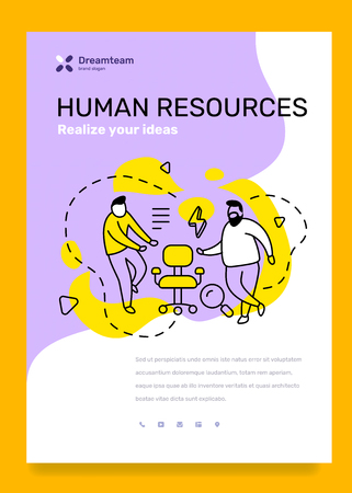 Vector business template with illustration of people with vacancy chair on color background. Human resources concept with text. Line art style design for web, site, poster 일러스트