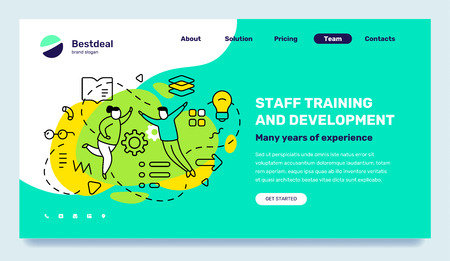 Vector business template with illustration of people with light bulb, book on green background. Staff training and development concept with text. Line art style design for web, site, banner