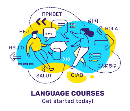 Vector business illustration of people with speech bubble and word in different language on color background. Education courses concept with man, woman, text. Line art style design for web, site, poster, banner
