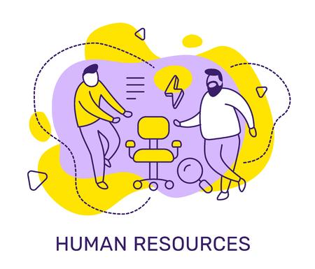 Vector zakelijke illustratie van mensen met vacature stoel, vergrootglas op kleur achtergrond. Human resources concept met man, tekst. Line art-stijlontwerp voor web, site, poster, banner