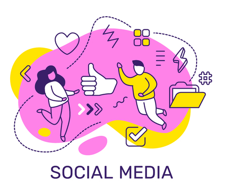 Vector business illustration of people with thumb up, icon, element on color background. Social media concept with man, woman, text. Line art style design for web, site, poster, banner