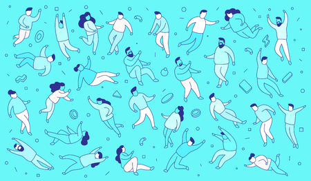 Vector illustration of set of people on blue background in casual clothes in different poses. Line art style design for web, site, banner, pattern 일러스트