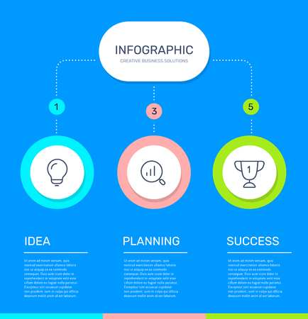 Vector infographic template with 3 circle, business icons, steps and options on blue color background. Line art style design with text and words for web, site, banner, presentation, report